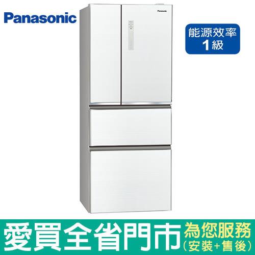 (1級能效)Panasonic國際500L四門玻璃冰箱NR-D509NHGS-W(翡翠白)含配送到府+標準安裝【愛買】