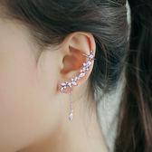 韓國時尚個性微鑲水晶流蘇耳夾耳釘S925純銀耳針女氣質耳環