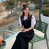韓國製.甜美百搭抓皺寬帶高腰修身吊帶裙.白鳥麗子