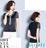 衣服女2020新品清新V領蕾絲拼接緞面黑色t恤女洋氣短袖ins超火的上衣 OO5628『科炫3C』