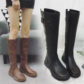 長筒靴子女高筒靴顯瘦騎士長靴皮靴潮【南風小舖】