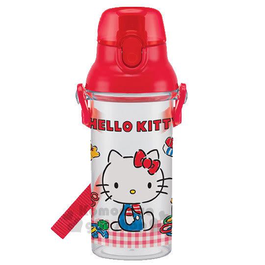 特價399↘〔小禮堂〕Kitty 日製直飲式水壺《透明.格紋》480ml.附背帶 4973307-40171
