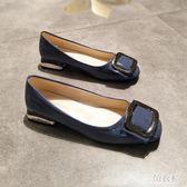 平底方頭單鞋女淺口方扣平跟豆豆鞋低跟小方跟歐美奶奶鞋復古風 三角衣櫃