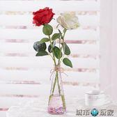 單支玫瑰花小清新擺件套裝飾品插花裝飾花客廳仿真花假花室內擺設 城市玩家