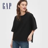 Gap女裝高質感厚磅棉質舒適圓領短袖T恤569336-純正黑