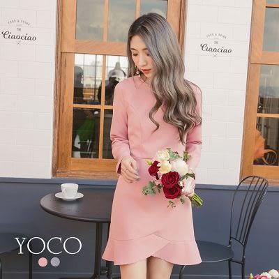 東京著衣【YOCO】甜蜜戀曲珍珠別針長袖洋裝-S.M.L(172821)