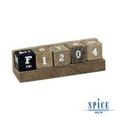 【日本 SPICE 】天然木材 可愛 E.D.G.E 桌上立方塊木年曆 S / 備忘錄 年曆