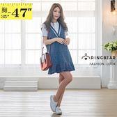 牛仔連身裙--氣質甜美撞色大V領荷葉下擺牛仔連身無袖洋裝(藍XL-3L)-D564眼圈熊中大尺碼