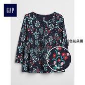 Gap女嬰幼童 印花圓領裝飾下擺長袖T恤 356488-藍色花朵圖案