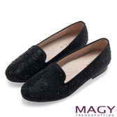 MAGY 甜美舒適 閃耀水晶鑽飾絨布平底鞋-黑色