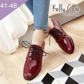 大尺碼女鞋-凱莉密碼-復古漆皮素面百搭小圓頭牛津鞋2.5cm(41-48)【HB258】紅色