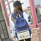 女簡約印花帆布雙肩包 小清新波點學生書包 日韓潮休閒旅遊背包