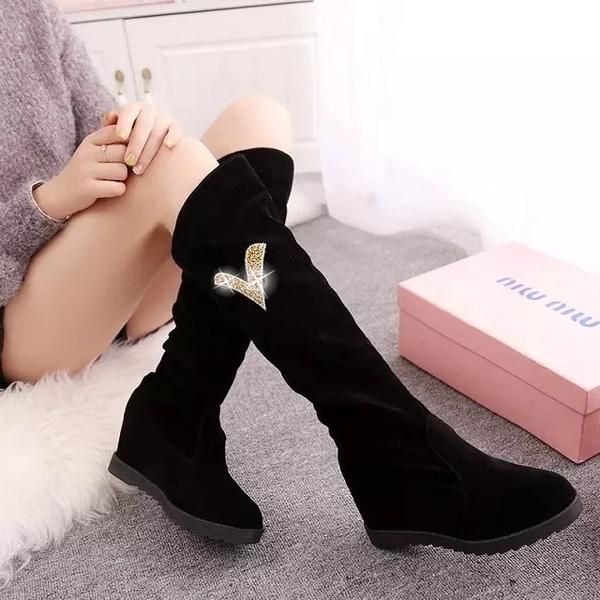 長靴女長筒靴女新款秋冬季保暖彈力坡跟內增高學生百搭高筒女靴子 伊衫風尚