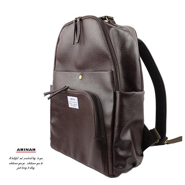深咖啡多層次後背包 (設筆電層) AMINAH~【am-0298】