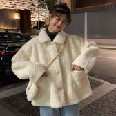小香風棉服外套女冬季新款韓版矮個子寬鬆毛絨羊羔毛棉衣棉襖 雅楓居