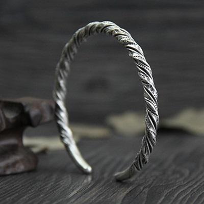 純銀手環(泰銀)-編織扭紋生日情人節禮物女手鐲73gg123[時尚巴黎]