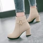 秋冬2020新款英倫短靴女尖頭短筒大碼高跟百搭粗跟皮面及踝靴單靴 蘿莉新品