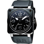 Bell & Ross Aviation 軍事飛行陶瓷機械腕錶-黑x銀時標/42mm BR0392-CE-BLP