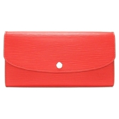 LOUIS VUITTON LV 路易威登 紅色EPI水波紋銀釦二折長夾 Emilie M60852 【BRAND OFF】