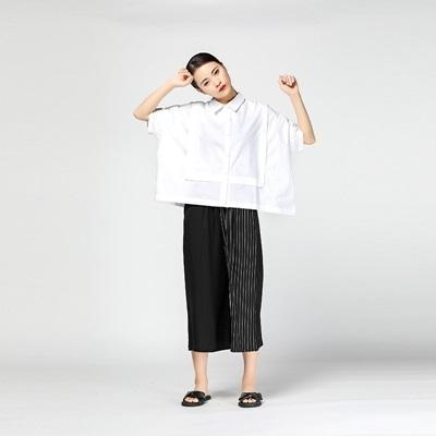 襯衫-短袖純色時尚方形拼接個性女上衣2色73th6【時尚巴黎】