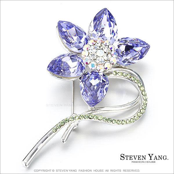 STEVEN YANG【KCD0006】正白K飾「高貴茶花」別針 採用施華洛世奇水晶 紫色 *單個價格*
