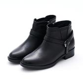 MICHELLE PARK 人氣宣言 皮帶小結拉鍊低跟短靴-黑