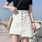 牛仔裙 新款韓版牛仔裙子半裙不規則小短裙女夏白色半身裙高腰a字裙 維多