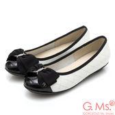 G.Ms. MIT系列-漆皮拼接牛皮菱格紋娃娃鞋*白色