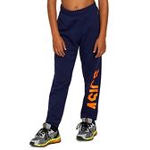 Asics [2034A095-404] 大童 運動 長褲 亞洲版 棉質 舒適 柔軟 休閒 日常 穿搭 亞瑟士 深藍 橘