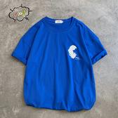 寶藍色S 純棉短T MIT台灣製【Y0882-43】短袖-左胸彎曲羽毛 可單買 男女可穿 快速出貨