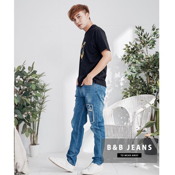湛藍造型英文設計牛仔褲