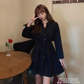 大碼女裝氣質連身裙秋季新款胖mm設計感收腰中長裙顯瘦長袖襯衫裙