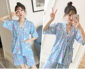 日式和服睡衣女夏純棉短袖韓版清新套裝睡衣