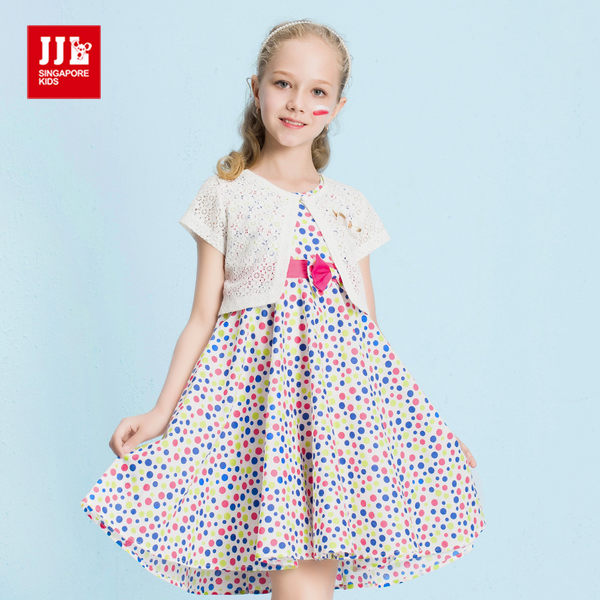 JJLKIDS 女童 小名媛蕾絲織紋披肩小外套(白色)