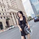 VK精品服飾 韓系氣質條紋系帶西裝馬甲寬口短褲套裝無袖褲裝