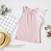 純棉甜美點點雪紡荷葉袖背心夏天無袖上衣粉色氣質甜美 女童哎北比