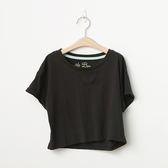【2%】素色短版反摺袖上衣-黑