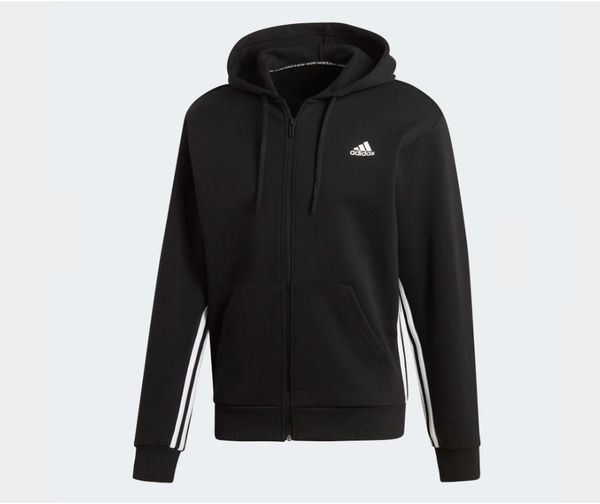 Adidas MUST HAVES 3-STRIPES HOODIE 男款黑色運動外套-NO.DX7657