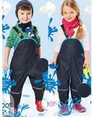 蕾思琳兒童背帶雙層防雨褲加厚防水沙灘褲環保雨披雨衣小孩罩褲