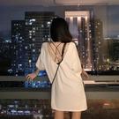 長款上衣 正韓前後兩穿露背白色上衣女交叉性感開叉中長款寬鬆印花鏤空上衣-Ballet朵朵