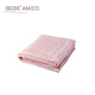 bebe Amico-鏤空編織透氣好眠毯(蘋果熊)-粉