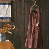文藝素色棉麻背心裙中長版無袖內搭A字裙/設計家Q2239