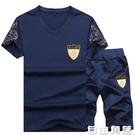 夏季男士短袖T恤2020新款韓版潮流V領體恤兩件套運動套裝男休閒褲  自由角落