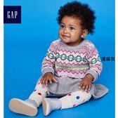 Gap女嬰兒 純棉圓領長袖針織洋裝 寶寶印花連身裙洋氣 399574-淺麻灰