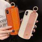 IPhone XR手機殼鉚釘簡約 蘋果11Pro Max手機套 蘋果X/Xs Xs Max保護套 腕帶商務iPhone6/6s/7/8保護殼