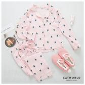 Catworld 仙人掌印花。產後月子哺乳棉質睡衣兩件組【16600184】‧M/L