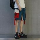 夏季港風ins拼接工裝短褲男韓版潮流ins學生寬鬆直筒休閒五分褲潮 魔法鞋櫃