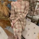 旗袍 鏤空設計感格紋洋裝女收腰古典旗袍氣質法式復古桔梗裙 彩希精品