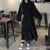 小黑裙黑色連身裙秋冬款女裝潮 洋氣2020年流行裙子長袖長款過膝小黑裙 春季上新