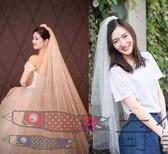 純沙裸沙新娘婚紗頭紗雙層插梳